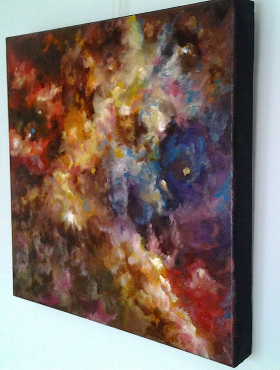 """ROSETTE NEBULA"", ready to hang realistic abstract oil painting. - Image 0"
