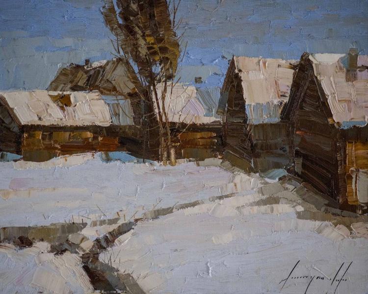 Village Yard Handmade oil Painting on Canvas - Image 0