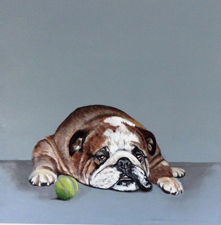 Anyone for Tennis,  (British bulldog) 24 x 24 inch Acrylic on box Canvas - Image 0