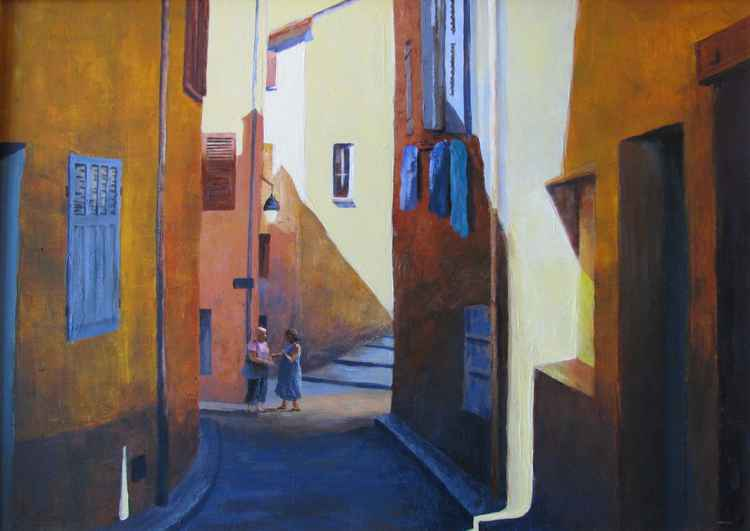 Morning gossip - Ceyreste, S. France. 72cm x 53cm -