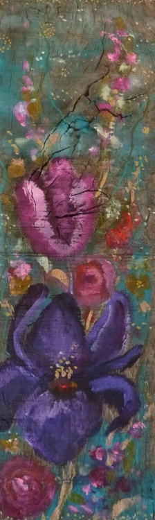 """Giverny ""wood panel , to put or hang,flower on a impressionist way - Image 0"