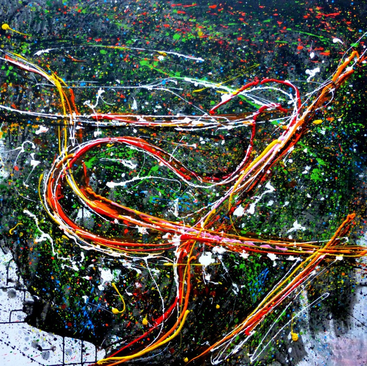 Night Roads, large acrylic painting, 100x100 cm - Image 0