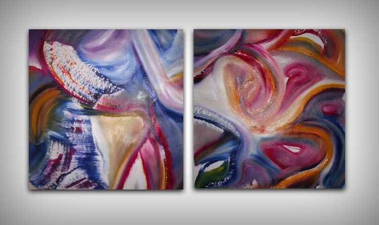 Feast, diptych, two paintings - 2x60x65 cm, Original abstract painting, oil on canvas, - Image 0