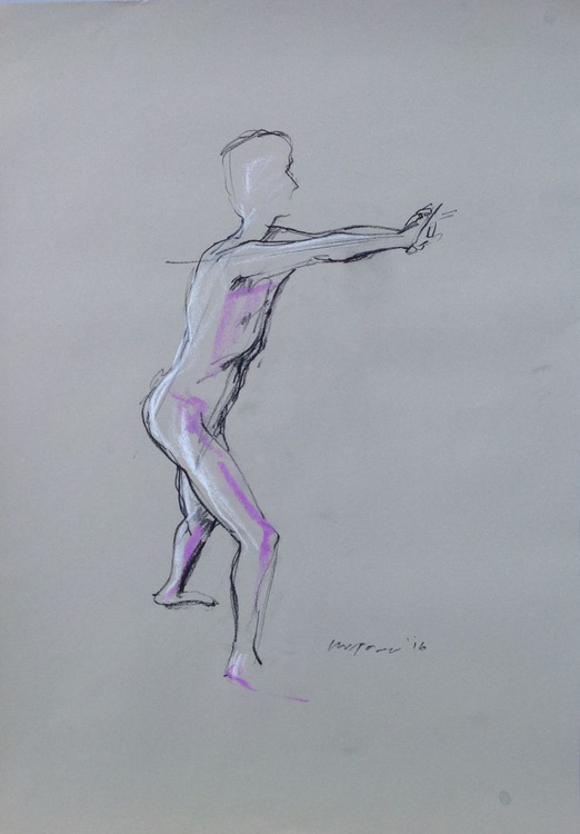 Male nude standing arms outstretched, A2 soft pastel life drawing #16 - Image 0