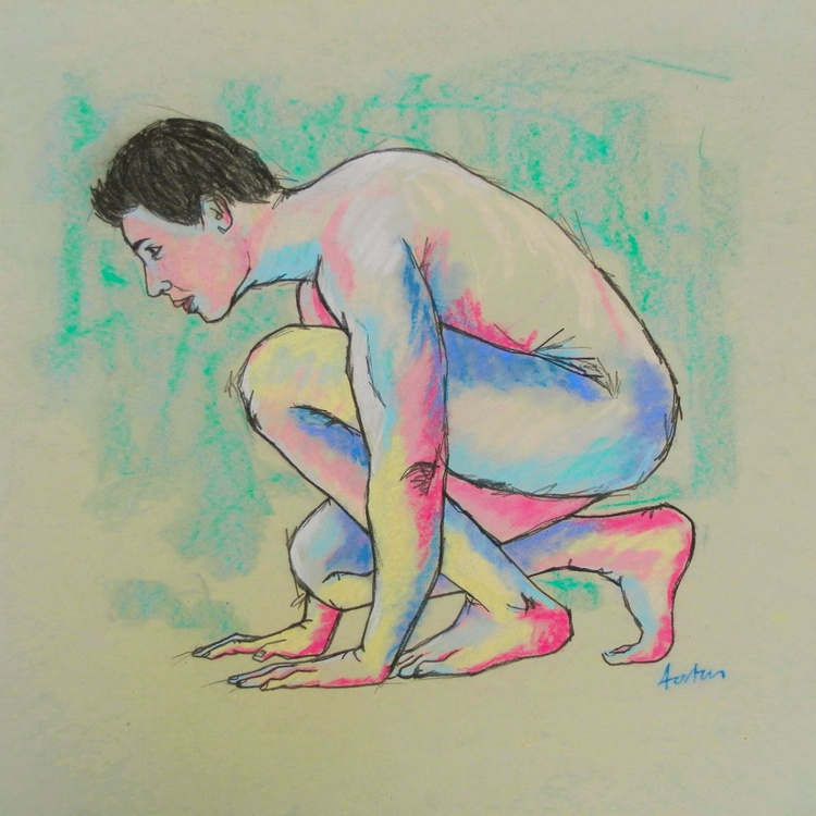 Male Nude Figure Study On Paper - Image 0