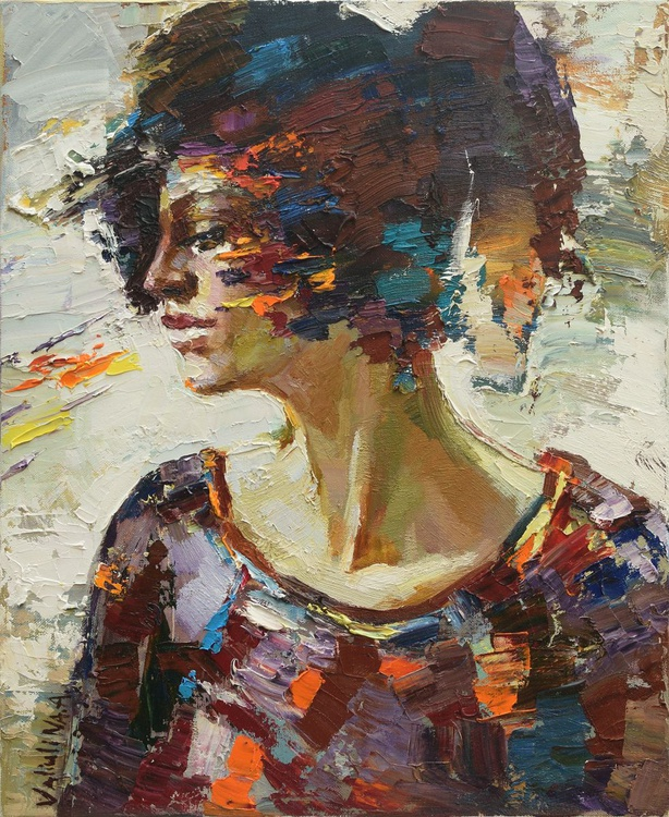 Abstract girl portrait painting #7, Original oil painting - Image 0