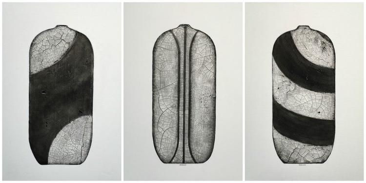 Raku Pottery Series IV Triptych - Image 0