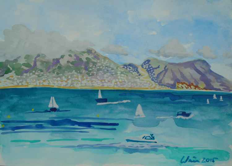 Boats on the Mediterranean with Sierra Bernia View (from Albir Beach)