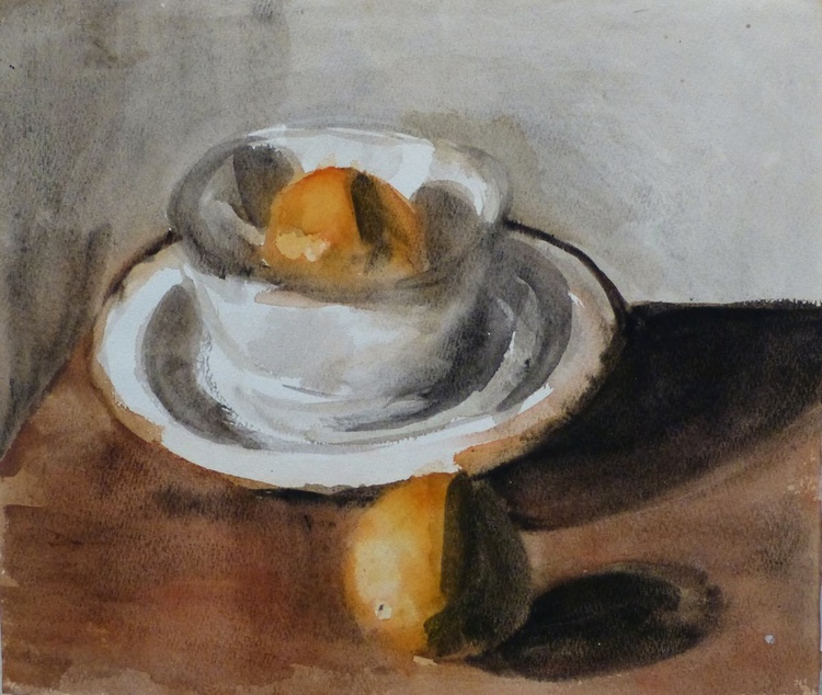 Still Life with A Bowl and Oranges, 31x27 cm - Image 0