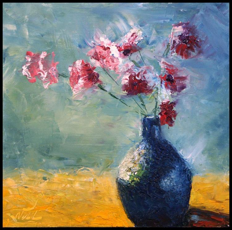 blue frosted vase - Image 0