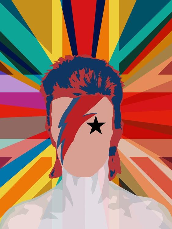 Bowie Pop Union (Pop Art David Bowie Portrait, 2016) Large A1 Edition of only 6 - Image 0