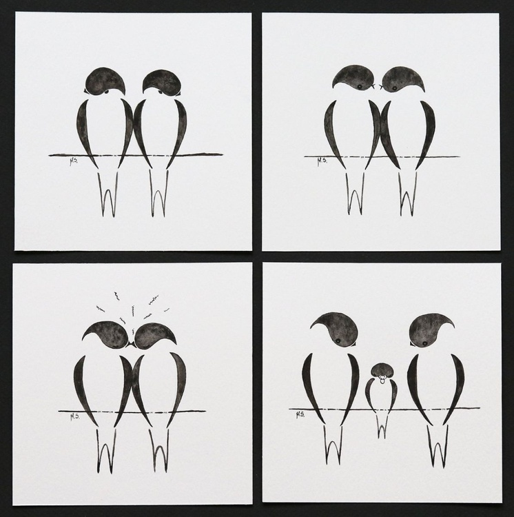 Swallows story - 4 miniature paintings. Crisis, agreement, love, baby. - Image 0