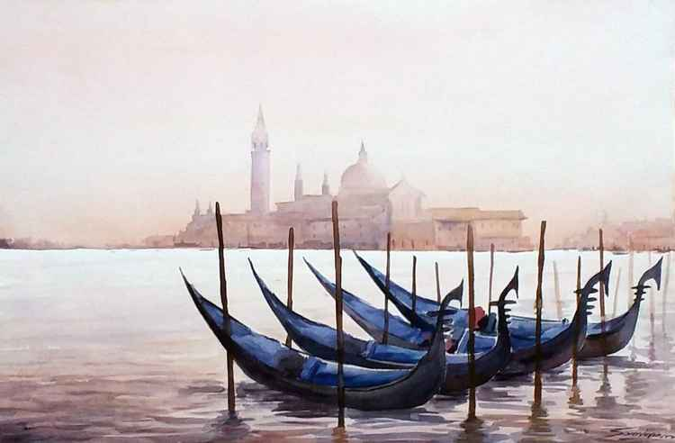 Early Morning Venice & Gondolas- Watercolor Painting