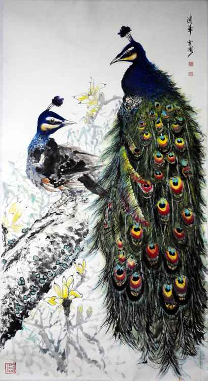 Chinese watercolour peacock paining-40 -