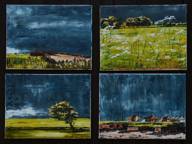 Set of 4 paintings: 'The Grey That Bless You With The Brightest Green' - Image 0