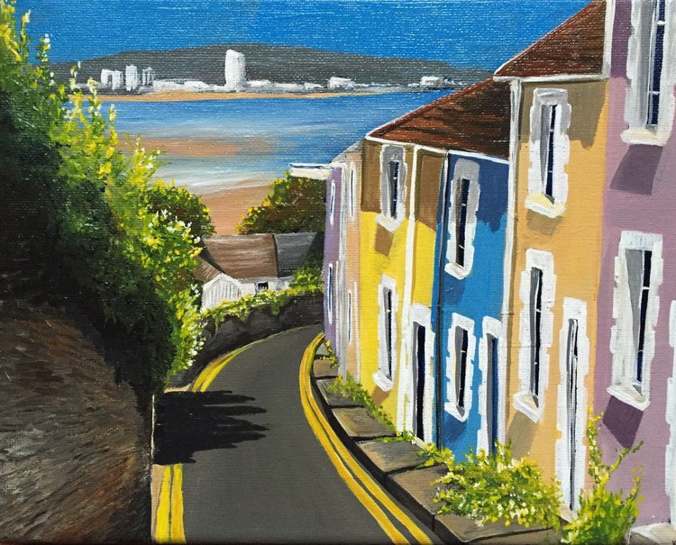 Candy coloured cottages (Mumbles) - Image 0