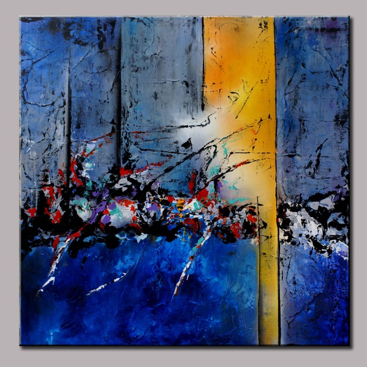 """""""Breaking Waters """" 36"""" Large Abstract Blue Art Painting, Modern Original Contemporary Art, Blue, Violet, Yellow, Silver, Pallete Knife Art Painting - Image 0"""