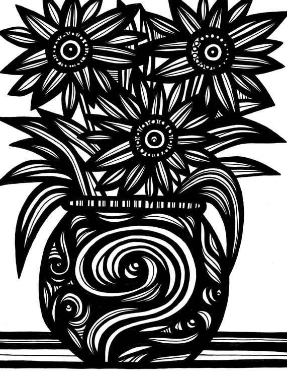 Contumacious Flowers Original Drawing -