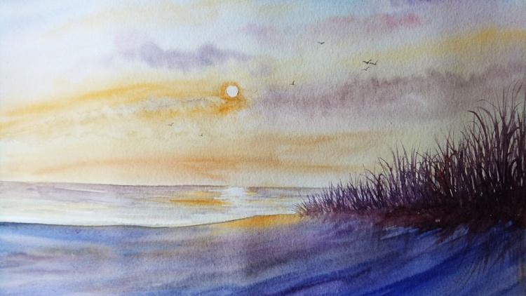 "Sea side sunset 16""x 20"" - Image 0"