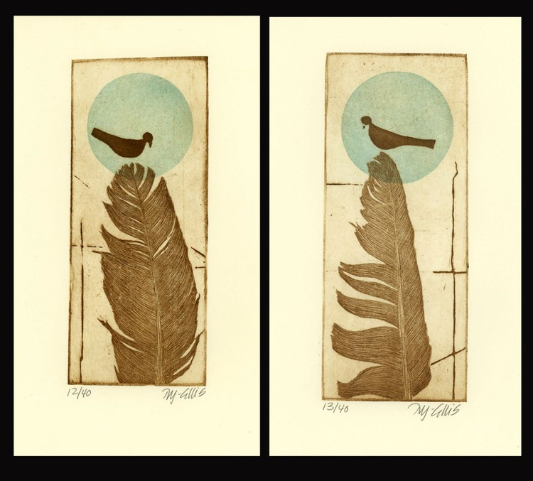 set of 2, Feathers,  aquatint etchings - Image 0