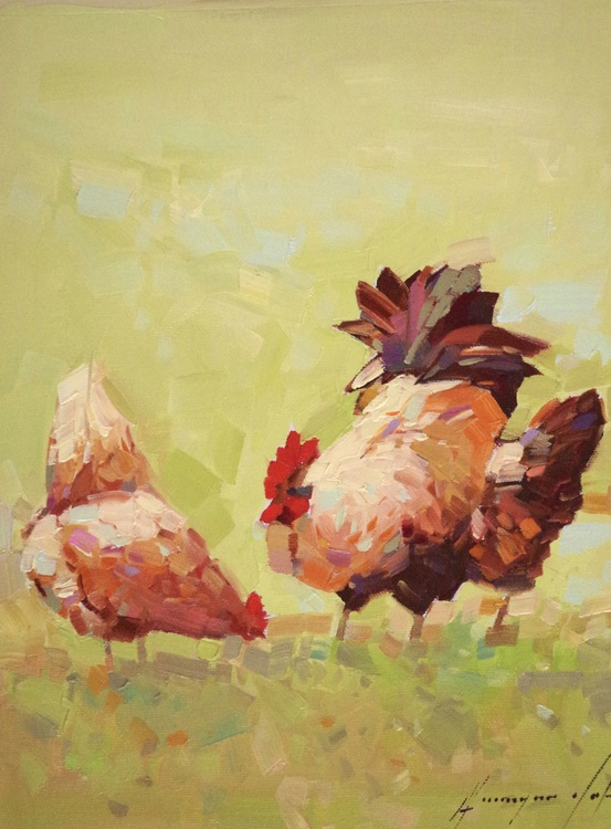 Hens Original oil Painting Handmade artwork One of a Kind Impressionism - Image 0