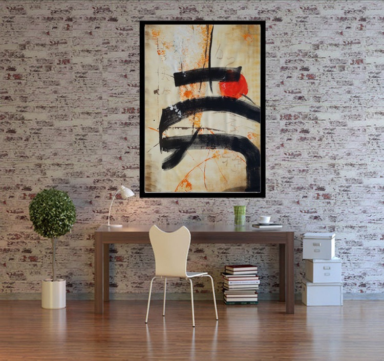 Beige Hieroglyph painting 110×160 cm acrylic on unstretched canvas J66 art original artwork in japanese style by artist Ksavera - Image 0