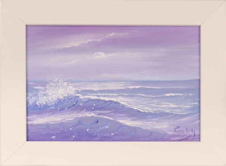 Ocean Waves XXVII  small framed seascape oil painting - Image 0