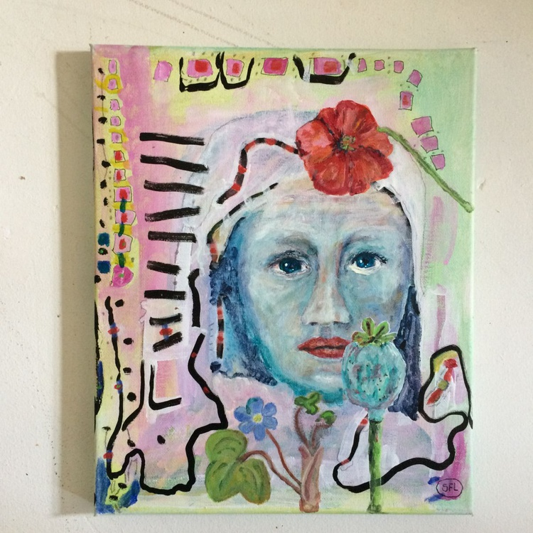 Lady with flower - Image 0