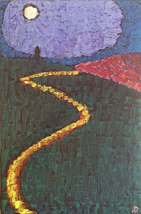 """Lonely Moon  (2016) - Acrylic Painting - 15.75 x 23.62"""" - FREE SHIPPING - Image 0"""