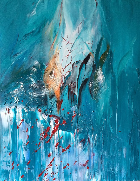 Blue is mine !  - Abstract Acrylic Painting - 28x36  inches - Image 0