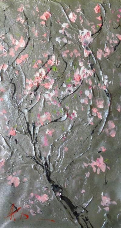 sakura branch, oil painting 40x65 cm - Image 0