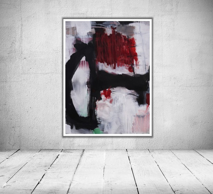 In The Lithic Ocean | abstract | mixed media | grey white red black | Work No. 2015.30 - Image 0
