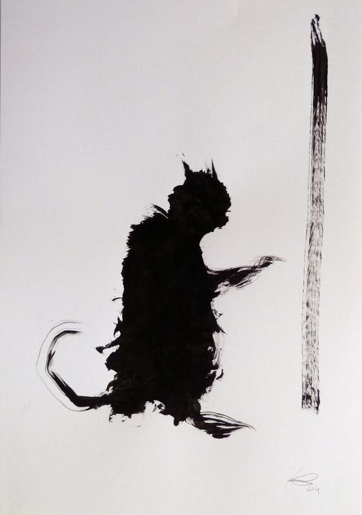 Black Cat #2, 29x42 cm - Image 0