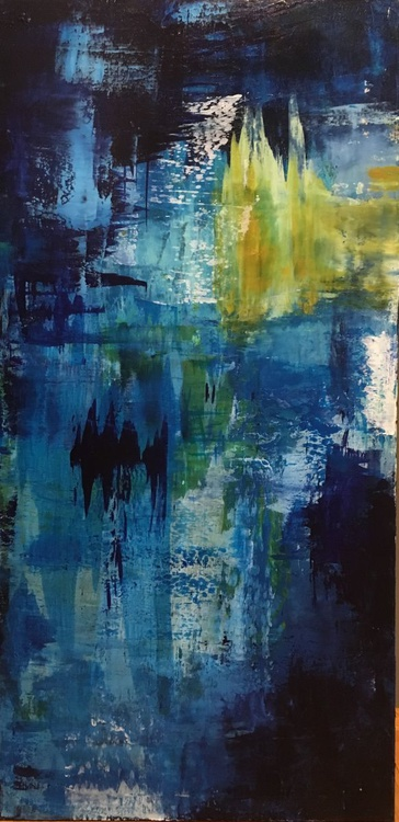 """""""Reflections in the Blue"""" acrylic on gallery wrap canvas, 24x48 - Image 0"""