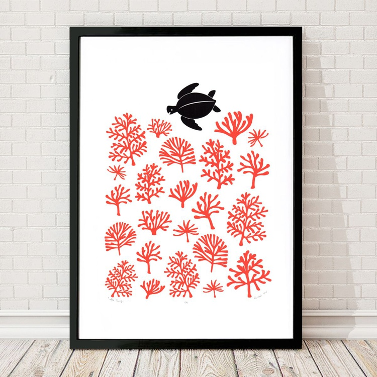 Sea Turtle Print A2 Size - Framed - FREE UK Delivery - Image 0