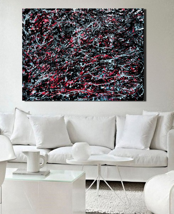 ELECTRIC BLUE  PINK Abstract Painting 48x36 Drip Painting - Image 0