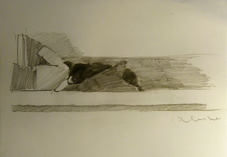 Mimi the cat in the mezzanine, life drawing 21x15 cm - Image 0