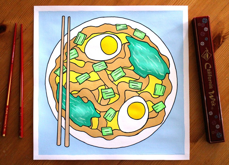 Udon Noodles Japanese Food Pop Art Painting On Paper - Image 0