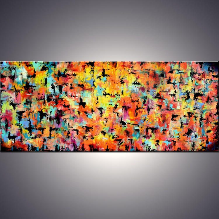 Large Wall Art Abstract Painting, 70x30 in Rusty Red Orange Original Abstract Painting Acrylic Teal Blue and Yellow ,Original wall art - Image 0