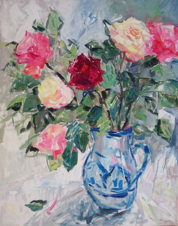 Roses in a jug. - Image 0