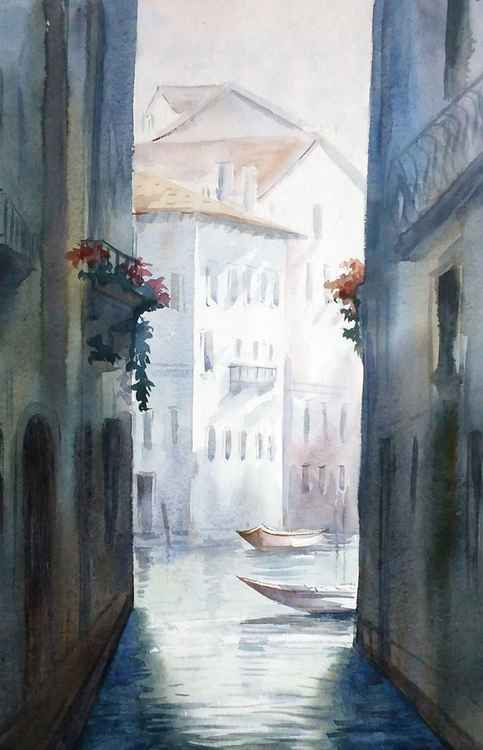 Venice Canals at Early Morning - Watercolor Painting -