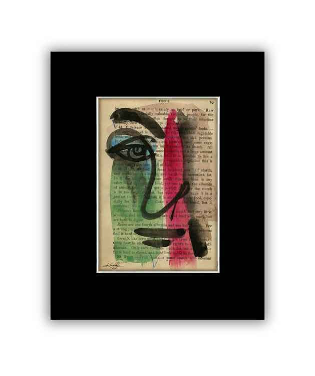 """I See 8"" on Antique Book Page - Abstract Watercolor Painting"