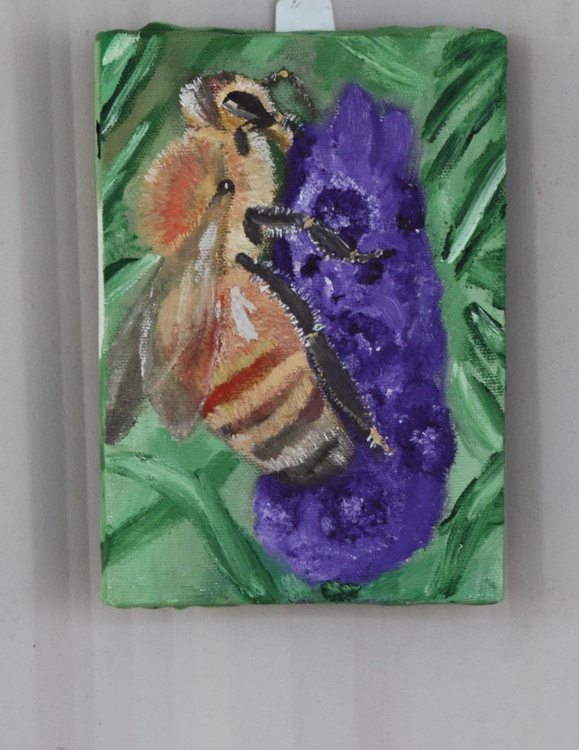 Bee Working on Purple Flower Spirit Charity friends of the earth - Image 0