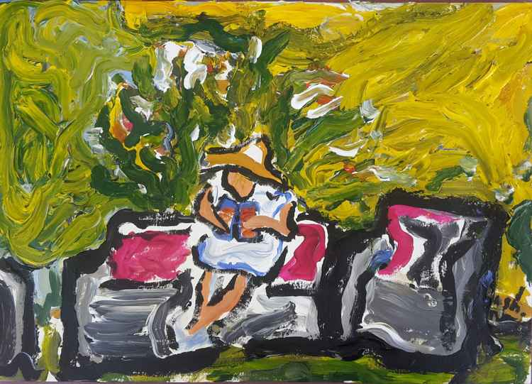 Woman reading in the garden