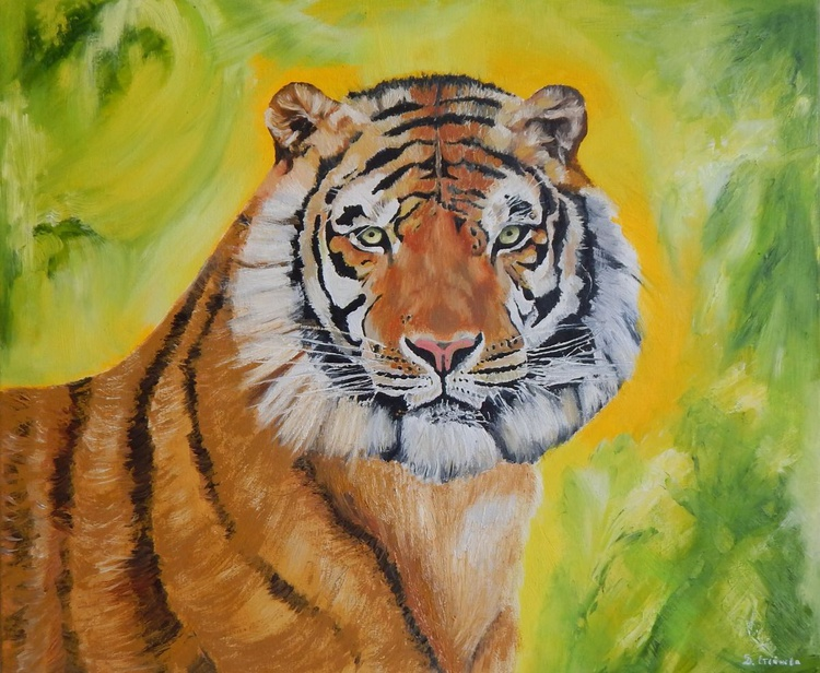 """Quiet strength""-original oil painting tiger wall art home decor ready to hang - Image 0"