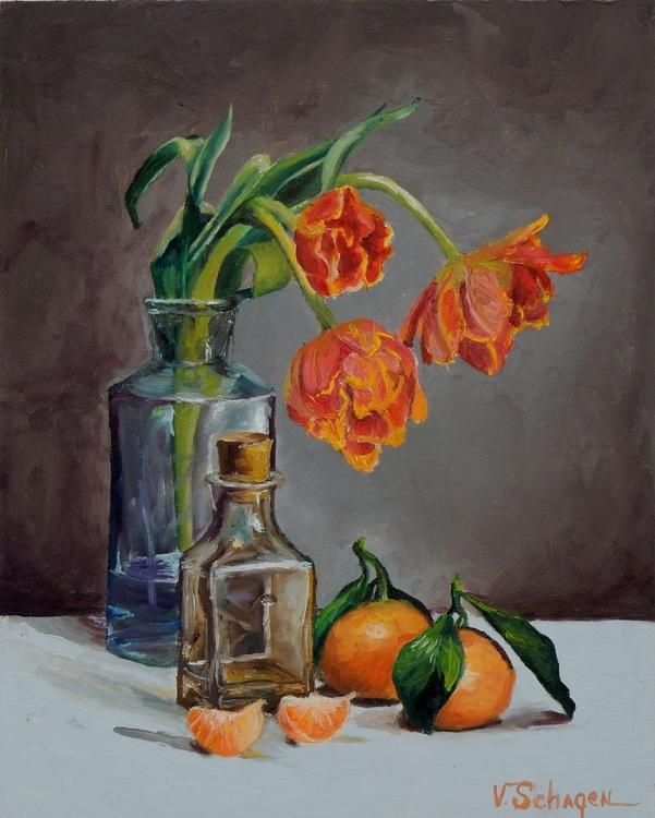 Tulips and mandarins. Still life - Image 0