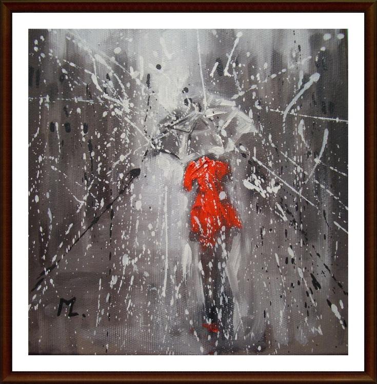 """ MY CITY "" original painting CITY STREET RAIN - Image 0"