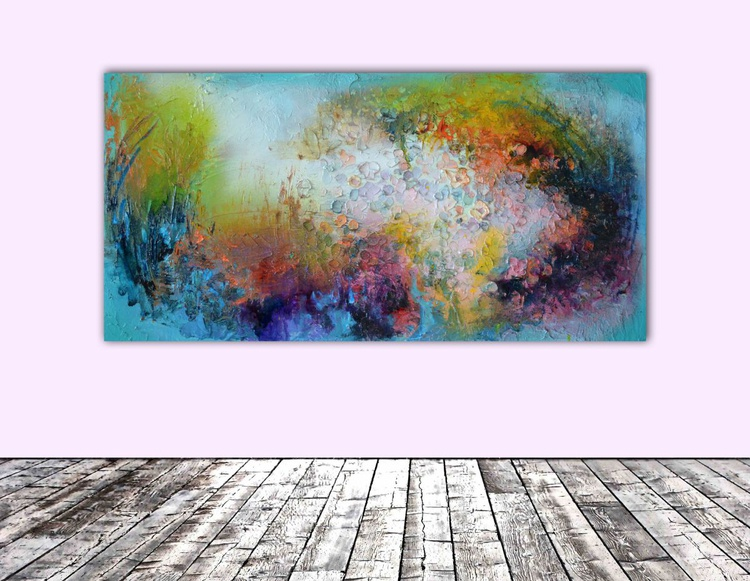 Misty Autumn - Modern Original Mixed Media Relief Abstract Paintng, Ready to Hang - Image 0