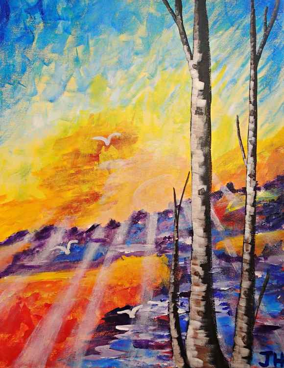Birch Tree Sunset -