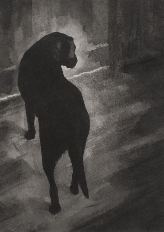 Black Labrador dog at the door - Image 0